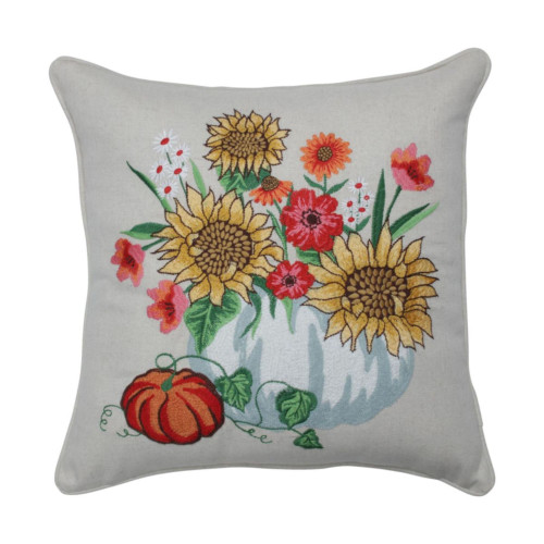 """18"""" Yellow and Red Harvest Bouquet Square Throw Pillow - IMAGE 1"""