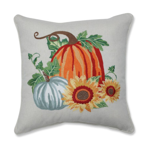 """18"""" Orange and Green Harvest Pumpkin Patch Square Throw Pillow - IMAGE 1"""