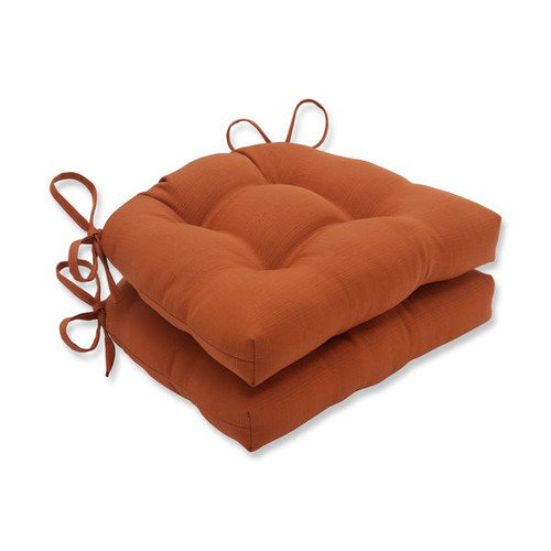 "Set of 2 Burnt Orange Indoor/Outdoor Reversible Chair Pads 16"" - IMAGE 1"