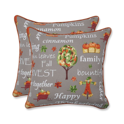 """Set of 2 Gray and Orange Autumn Harvest Haystack Thanksgiving Square Throw Pillows 18.5"""" - IMAGE 1"""