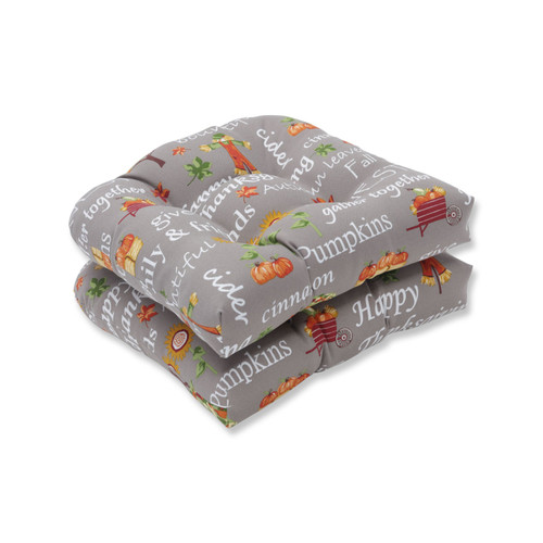 """Set of 2 Gray and Orange Thanksgiving Inspirational Indoor/Outdoor Chair Pad Cushions 16"""" - IMAGE 1"""
