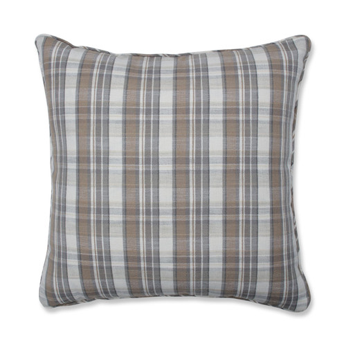 """25"""" Brown and Gray Flannel Pattern Indoor Floor Throw Pillow - IMAGE 1"""