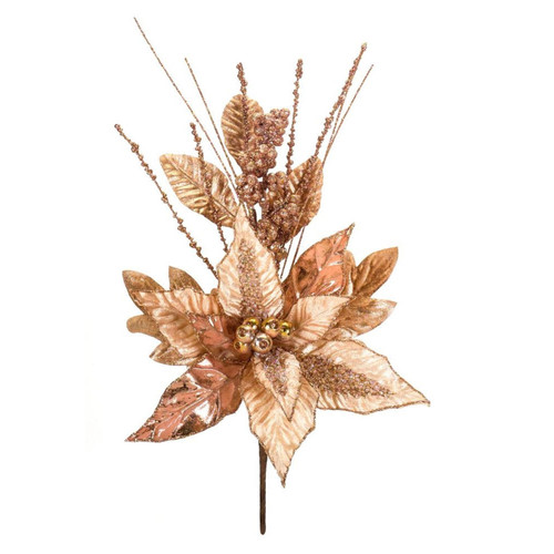 """Club Pack of 12 Golden Colored Glittering Finish Artificial Poinsettia Picks 16.5"""" - IMAGE 1"""