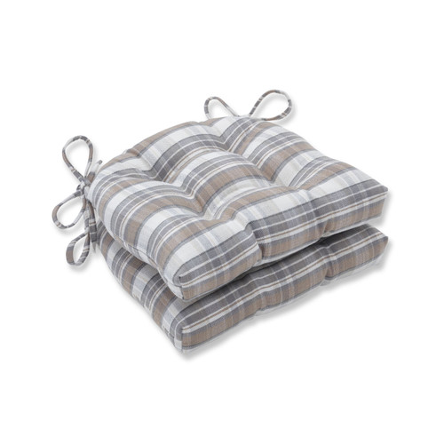 """Set of 2 Brown and Gray Plaid Pattern Indoor Reversible Chair Pad 16"""" - IMAGE 1"""