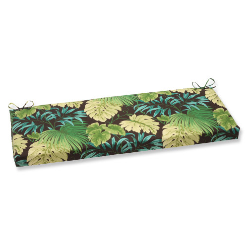 """45"""" Green and Brown Tropical Patterned Outdoor Patio Bench Cushion with Ties - IMAGE 1"""