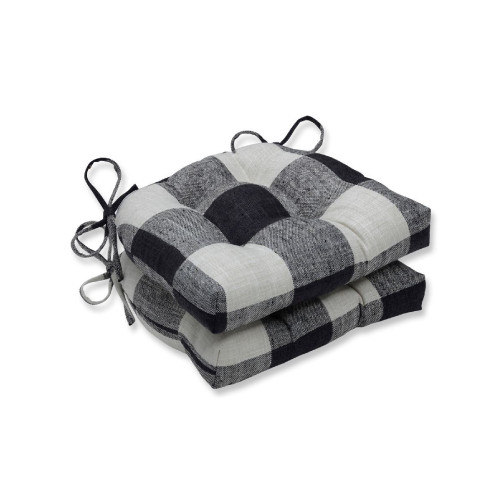"""Set of 2 Black Plaid Patterned Tufted Indoor Square Reversible Chair Pad with Ties 16"""" - IMAGE 1"""