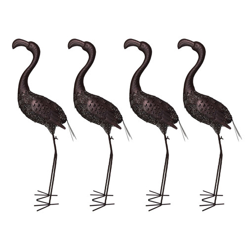 """Set of 4 Brown Solar LED Lighted Flamingo Outdoor Garden Statues 40"""" - IMAGE 1"""
