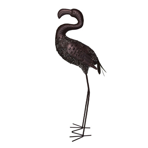 """35"""" Brown Solar LED Lighted Flamingo Outdoor Garden Statue - IMAGE 1"""