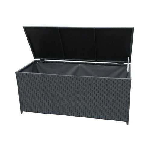 Black Indoor and Outdoor Balcony Patio Deck Porch Pool 113 Gallon Wicker Storage Box Trunk Bin with Metal Frame - IMAGE 1