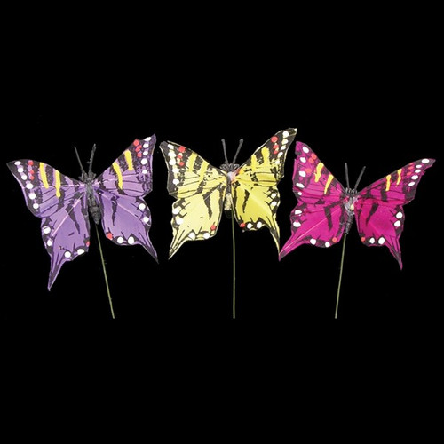 """Club Pack of 144 Purple and Pink Classic Butterfly Tails Wired Craft Picks 2"""" - IMAGE 1"""