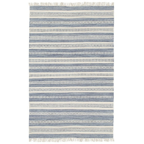 8' x 10' Contemporary Navy Blue and Alabaster White Wool Area Throw Rug - IMAGE 1