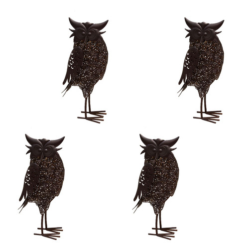 """Set of 4 Brown Solar LED Lighted Owl Outdoor Garden Statues 16.5"""" - IMAGE 1"""