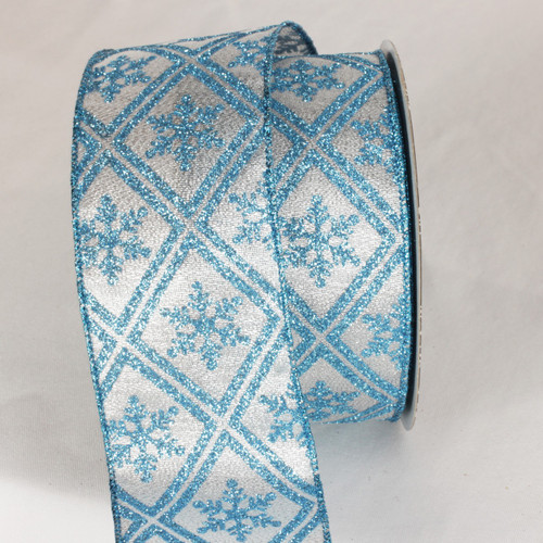 """Silver and Baby Blue Christmas Snowflake Wired Craft Ribbon 2.5"""" x 40 Yards - IMAGE 1"""