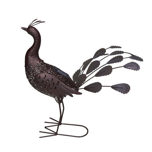 "23"" Brown Solar LED Lighted Peacock Outdoor Garden Statue - IMAGE 1"