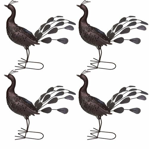 """Set of 4 Brown Solar LED Lighted Peacock Outdoor Garden Statues 23"""" - IMAGE 1"""