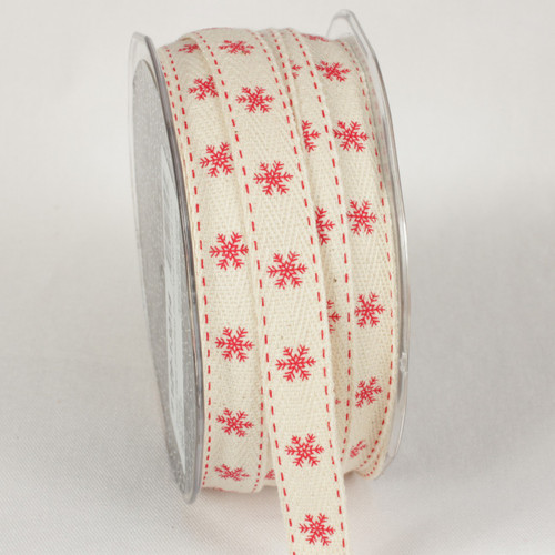 "Ivory and Red Snowflake Printed Woven Edge Craft Ribbon 0.62"" x 60 Yards - IMAGE 1"