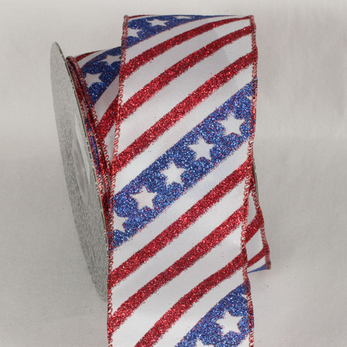 Patriotic Stripes and Stars Wired Craft Ribbon 2.5 x 20 yards - IMAGE 1