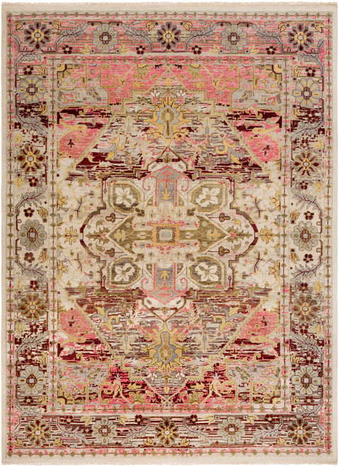 3.5' x 5.5' Contemporary Pink and Gray Hand Knotted Wool Area Throw Rug - IMAGE 1