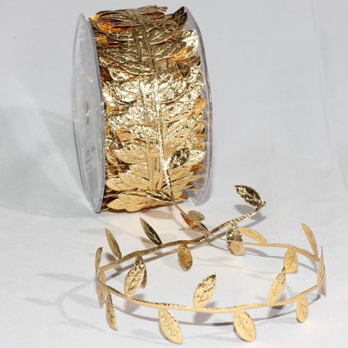 "Fine Gold Solid Leaf Garland Craft Ribbon 1"" x 33 Yards - IMAGE 1"