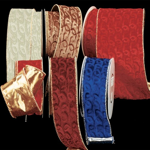 """Gold Backed Red Velvet with Gold Pearl Edge Wired Craft Ribbon 3"""" x 20 Yards - IMAGE 1"""