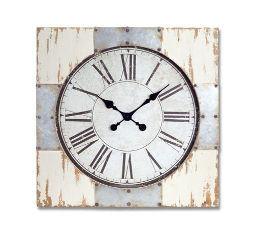 """27.5"""" Distressed Wooden and Metal Decorative Square Roman Numeral Wall Clock - IMAGE 1"""