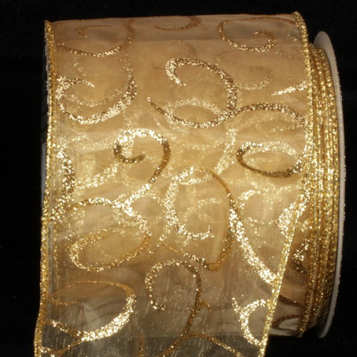 "Sheer Gold Swirl Print Wired Craft Ribbon 4"" x 20 Yards - IMAGE 1"