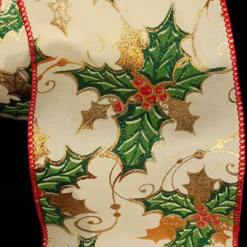 """Green and Gold Mistletoe Print Wired Craft Ribbon 4"""" x 20 Yards - IMAGE 1"""
