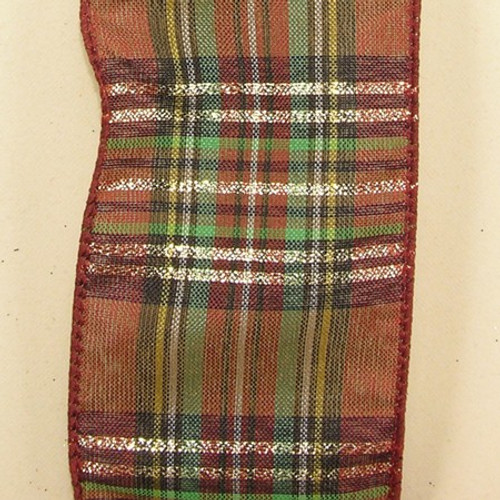 """Brown and Green Plaid Wired Craft Ribbon 2.5"""" x 40 Yards - IMAGE 1"""