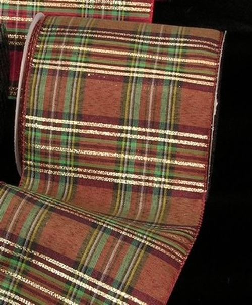 """Brown and Green Plaid Contemporary Wired Craft Ribbon 5"""" x 20 Yards - IMAGE 1"""
