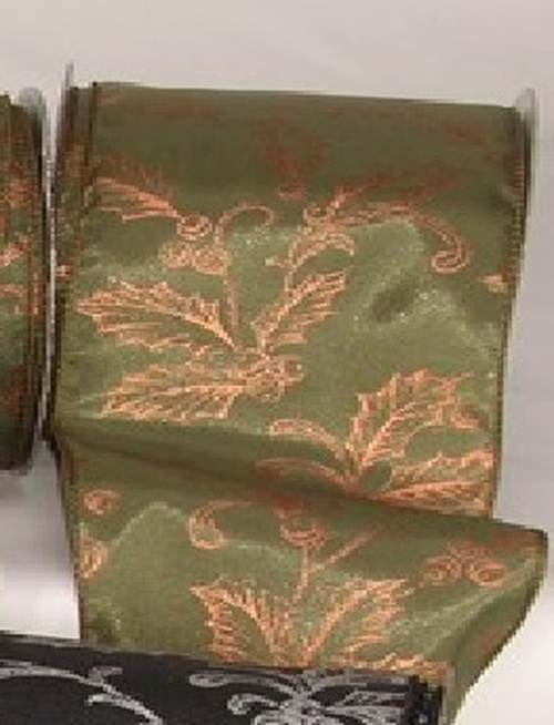 """Green Copper Poinsettia and Berry Print Craft Ribbon 0.15"""" x 20 Yards - IMAGE 1"""