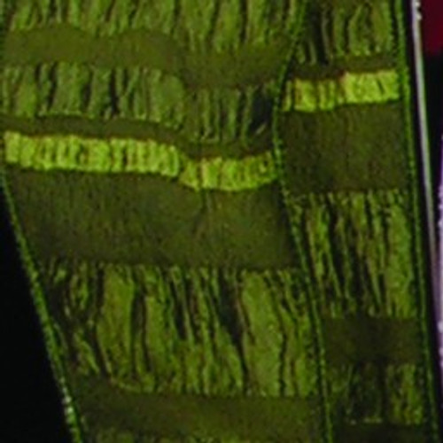 """Hunter Green Contemporary Striped Wired Craft Ribbon 2"""" x 20 Yards - IMAGE 1"""