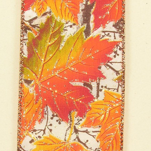 """Orange and Yellow Leaves Theme Wired Craft Ribbon 2.5"""" x 40 Yards - IMAGE 1"""