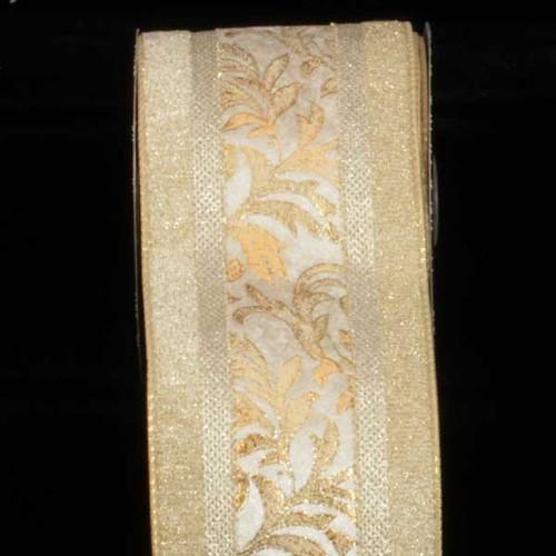 "Ivory and Gold Royal Ribbon Lame Back Wired Craft Ribbon 4"" x 20 Yards - IMAGE 1"