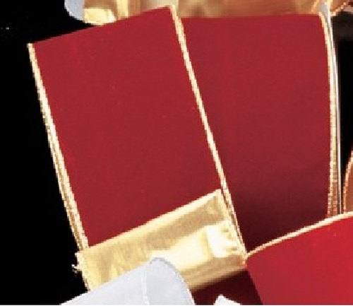 """Burgundy Red and Gold Wired Craft Ribbon 2"""" x 40 Yards - IMAGE 1"""