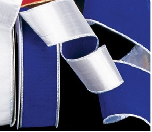 """Navy Blue and Silver Wired Craft Ribbon 2"""" x 40 Yards - IMAGE 1"""