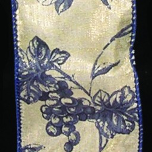 "Ivory and Navy Blue Floral Print Wired Craft Ribbon 2"" x 40 Yards - IMAGE 1"