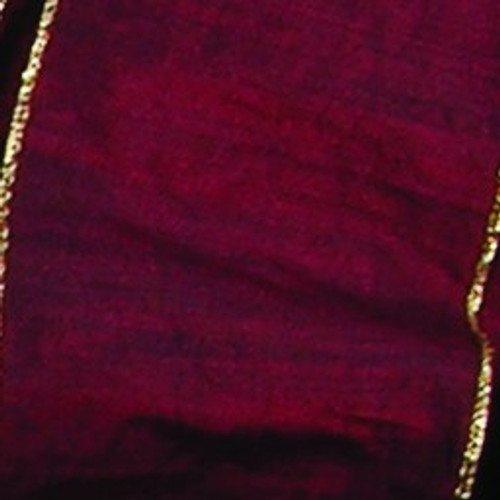 """Burgundy Red and Metallic Gold Wired Craft Ribbon 6"""" x 20 Yards - IMAGE 1"""