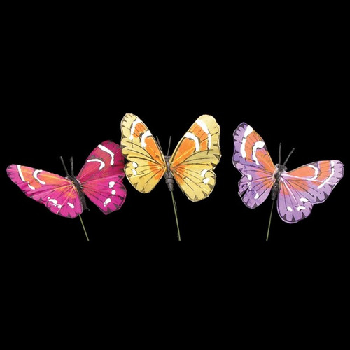 """Club Pack of 144 Yellow and Pink Summer Stripe Butterfly Wired Craft Picks 2"""" - IMAGE 1"""