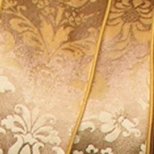 "Gold Shiny Floral Wired Craft Ribbon 5"" x 20 Yards - IMAGE 1"