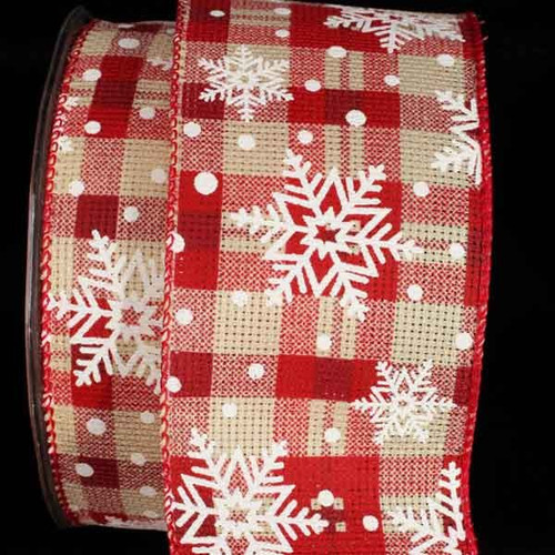 """Red and White Snowflakes on Plaid Wired Christmas Craft Ribbon 2.5"""" x 20 Yards - IMAGE 1"""