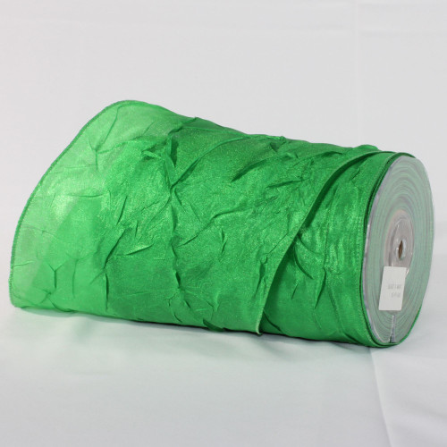 "Emerald Green Crinkled Wired Craft Ribbon 6"" x 27 Yards - IMAGE 1"
