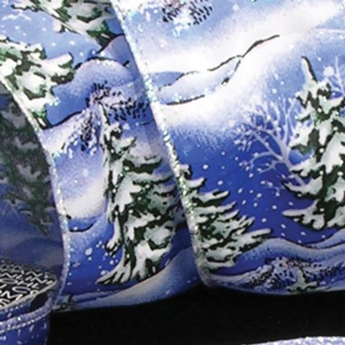 """Blue and White Winter Trees Wired Craft Ribbon 2.5"""" x 40 Yards - IMAGE 1"""