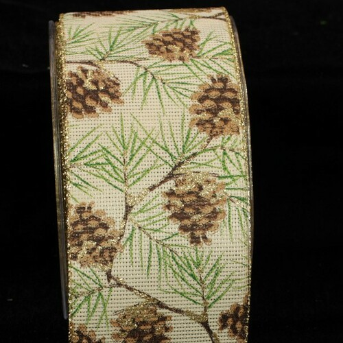 """Ivory and Green Pinecone Christmas Wired Craft Ribbon 2.5"""" x 40 Yards - IMAGE 1"""