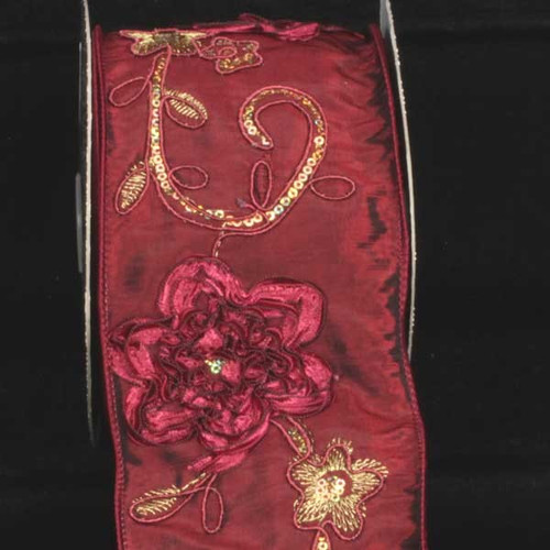 """Burgundy Red and Gold Embroidered Floral Wired Craft Ribbon 4"""" x 10 Yards - IMAGE 1"""