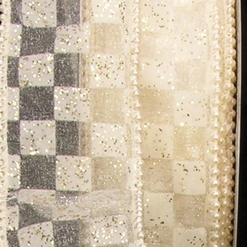 "Shimmering Ivory Geometric Wire Edged Craft Ribbon 2"" x 20 Yards - IMAGE 1"