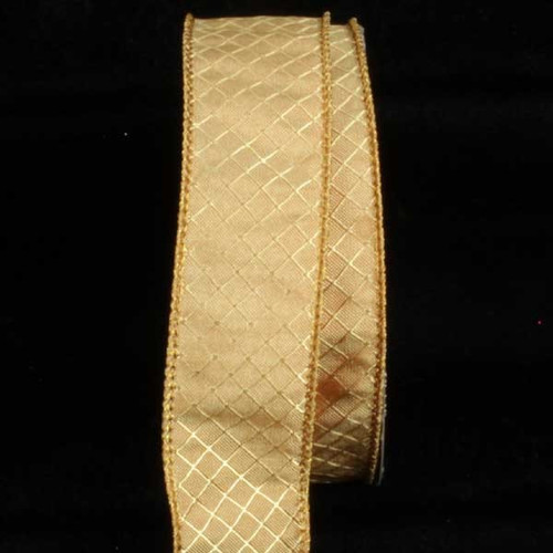 """Gold Piazza Printed Wired Craft Ribbon 1.5"""" x 80 Yards - IMAGE 1"""