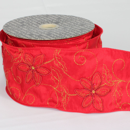 """Red Stitched Poinsettia Wired Craft Ribbon 4"""" x 20 Yards - IMAGE 1"""