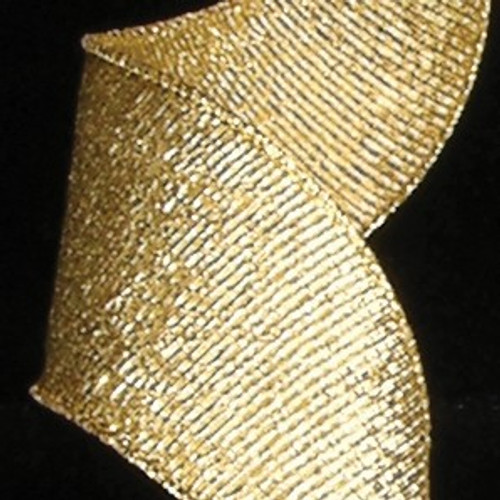 """Gold Lame Grosgrain Wired Craft Ribbon 2"""" x 20 Yards - IMAGE 1"""