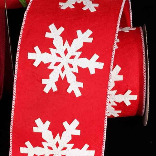 "Red and White Winter Snowflakes Stitched Wired Craft Ribbon 4"" x 5.5 Yards - IMAGE 1"