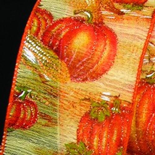 """Orange Fall Pumpkin Motif Wired Craft Ribbon 2.5"""" x 20 Yards - IMAGE 1"""